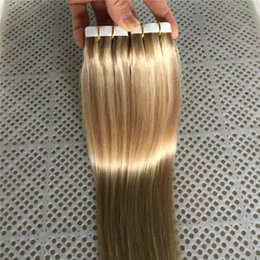 """Wholesale Tape Hair Extensions Mix Color - 9A Grade 100g 40pcs PU Skin Weft Tape in Hair Extensions Piano Color #18 #613 14""""-26"""" Remy Human Virgin Hair Extensions"""