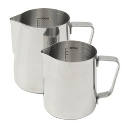 Wholesale Espresso Mugs - Wholesale- Japanese Style Thickened Stainless Steel Espresso Coffee Milk Cup Mugs Thermo Frothing Pitcher Steaming Frothing Pitcher