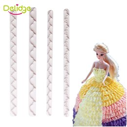 Wholesale Dress Frills - Delidge 4 pcs set Cake Lace Frill Ribbon Cutter Plastic Straight Frill Lace Ribbon Mold Baby Doll Dress Cake Press Flower Mold