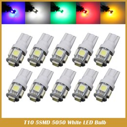 Wholesale Car Led Map Light - 50PCS T10 LED W5W 5SMD 5050 194 car led light Wedge Lamp Bulbs Auto Tail light Side Parking Dome Door Map lights 12V car styling