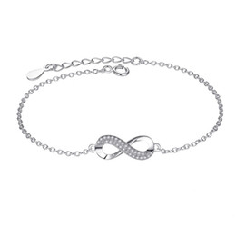 Wholesale Infinity Bracelet Sterling Silver - BELAWANG Exquisite Workmanship 925 Sterling Silver Crystal Infinity Bracelet For Women Link Bracelets & Bangles Jewelry With Lobster Clasp