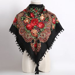 Квадратные цветочные шарфы оптом онлайн-Оптовая торговля-2017 горячая распродажа новая мода женщина шарф квадратные шарфы короткие кисточкой цветочные печатных женщин обертывания зима леди шали оголовье