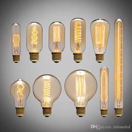 Lámpara de tungsteno e27 online-American Vintage Edison Light Bulbs Fuente de luz de alambre de tungsteno Luces colgantes 110V 220V E27 Soporte de lámpara de latón Bombillas incandescentes