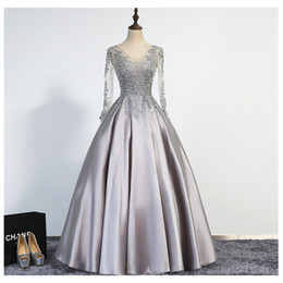 Wholesale Dress Long Elegant Photo Real - Elegant Silver Evening Dresses 2017 A-Line Scoop Illusion Lace Up Long Sleeves Floor Length Appliques Beading Real Picture Prom Gowns