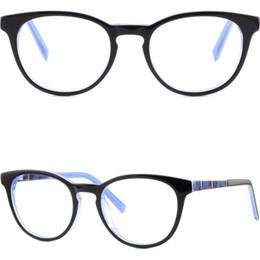 Telai di vetro in plastica neri rotondi online-Cerniere in plastica di alta qualità da donna tondi da uomo Cerniere a molla in vetro blu nero