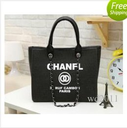 Wholesale Name Letters - 2017 fashion Famous fashion brand name women handbags Canvas Shoulder bag chains of large capacity bags