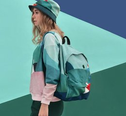 Wholesale Green Institute - Han edition printed canvas backpack female male fresh wind of leisure backpack literature institute high school students' school bags