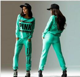 Wholesale Velvet Sweatshirts Hoodies - 2017 new sport wear Tracksuit Women Letter vs Pink Print Sports Suit Hoodies Sweatshirt +Pant Jogging Sportswear Costume 2pc Set