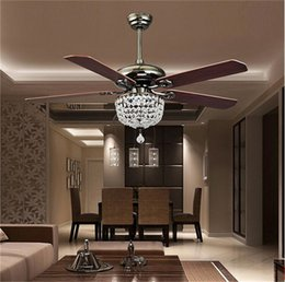Wholesale Retro Blade - Retro Ceiling Fans Luxury Crystal Light Lamp with Remote Control 42-inch 220V 110V Modern Ceiling Fans Lights with Antique Wood Blade