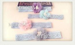 Pizzo fiori fasce per bambini fotografia puntelli di buona qualità floreale festa di nozze regali di compleanno rosa viola grigio blu 39 da
