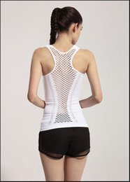 Wholesale Wholesale Mesh Jackets - Ladies Vest Mesh Yoga Wear Spring And Summer Sexy Fitness Clothes Tight Elastic Yoga Sports Running Yoga Suit Jacket ouc345