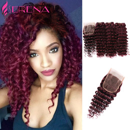 Wholesale Cheap Deep Wave Remy Hair - 100% Virgin Indian Remy hair Extensions 3 bundles 99j Indian Curly Hair Burgundy Color Weaves Indian Deep Curly Wave Cheap Human hair