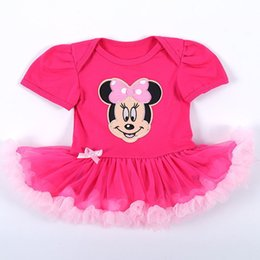 Wholesale Minnie Baby Romper - Minnie Romper Birthday Party dress Baby girl clothing 1year Princess tutu Skirt dress Puff sleeve 0-18months 2017 Hotsale