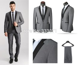 Wholesale Morning Dress Men - Wholesale- tailor made 2015 Hot Morning Style one Button Groom Tuxedos Best Man Black Light Gray Men Wedding Suits Dress Jacket+Pants+Tie