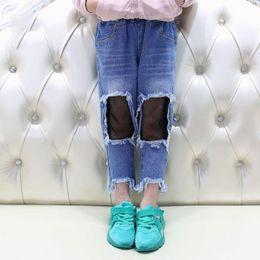 Wholesale Skinny Black Pantyhose - Kids Spring Pants Girl black big hole pant jeans + mesh pantyhose tight personality Jeans Children Holes Pants