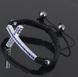 Wholesale Side Cross Silver Connector - Blue diamond Crystal Curve Side Ways 18KGP Cross Connector Macrame Adjustable Bracelet Charms