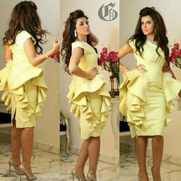Wholesale Embellishment Dress - Knee Length Evening Dresses 2017 Yellow Saudi Arabic Style Peplum Feather Ruffle Embellishment Elegant Prom Gowns