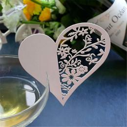 Wholesale Flower Places - Wholesale- 50pcs set Love Heart Blank Name Place Table Card Wine Glass Wedding Event Laser Cut Flower Cards