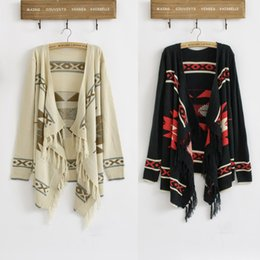 Wholesale Tribal Cardigans - Wholesale-Hot Sale Vintage 70s Women Geometric Sweater Aztec Tribal Fringe Indian Gypsy Hippie Knitted Cardigan Jacket Free Shipping