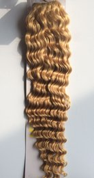 """Wholesale Ash Blonde Human Hair Extensions - Wholesale-Wholesale 18""""-22"""" Women's Remy Human Hair Weft Weaving Extensions Deep Curly 100g Ash Blonde #18"""