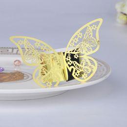 Wholesale Gold Wedding Serviette - Wholesale- 100pcs Gold Laser Cut Butterfly Napkin Rings Serviette Holder Home Table Wedding Birthday Anniversray Banquet Dinner Decor Favor