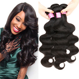 Wholesale Cheap Remy Body Wave - Brazilian Virgin Hair Malaysian Remy Hair Body Wave 4 Bundles Deal Brazilian Body Wave Bundles Unprocessed Cheap Human Hair Weave #1B DHL