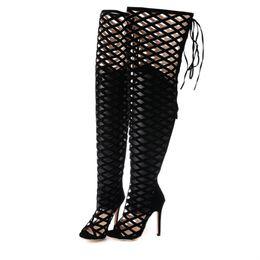 Sexy para mujer Sobre la rodilla Sandalias de gladiador Recortes negros Muslo de tacón alto Botas largas Cremallera 11cm Tamaño 35 a 40 desde fabricantes