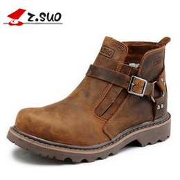 Wholesale Nubuck Cowhide Leather Shoes - Wholesale-Handmade Cowhide genuine leather men boots working boots platform buckle fashion men shoes