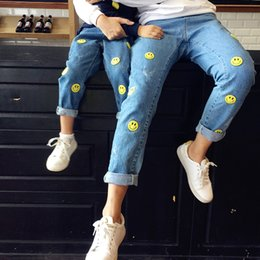 Wholesale Korean Kids Pants For Boy - Family Matching Outfits Mother Daughter Clothes Kids Jeans for Children Smile Happy Pattern Cartoon Boys Pants Korean Style