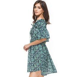 1ffe8b1a5844 China Novo 2017 Floral Vestido de Verão Mulheres Frio Cortado Ombro Folhas  Verdes Flor Imprimir Vestido