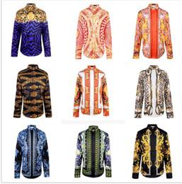 Wholesale Slim Fit Camisas - Wholesale- Men fashion Punk style shirts Patchwork 3d Religion Baroque Golden Flower Floral print long sleeves Camisas Slim fit tops Hemd