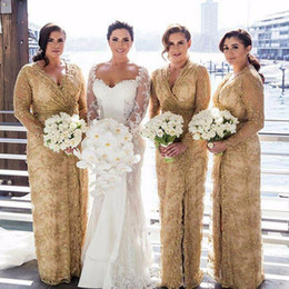 Wholesale Bridesmaid Mother - Plus Size Gold Lace Long Bridesmaid Dresses 2017 Sexy V-Neck With Long Sleeves Side Leg Split Evening Gowns Mother of the Bride Dress