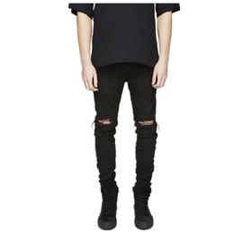 Wholesale Wholesale Mens Skinny Jeans - Wholesale- Hip hop jeans streetwear Slim Fit Ripped cool Jeans Men Hi-Street Mens Distressed Denim pants Knee Holes Washed Destroyed Jeans