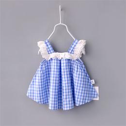 Wholesale Girls Lattice Dress - New baby girls plaid dress summer Sexy Children lace lattice dresses Kids Clothing C2206