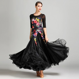 Wholesale Long Ballroom Dance Dresses - 2018 style black ballroom dress for women ballroom competition dresses long ballroom dance wear dress standard modern dance costumes
