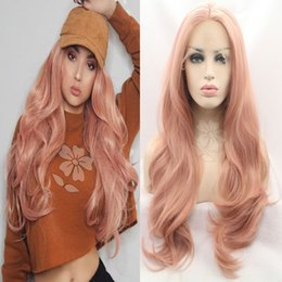 Wholesale Hot Pink Long Wigs - HOT!! 2017 Matte Pink wig top quality synthetic long pink wig Heat Resistance pink Deep Wave lace front wig