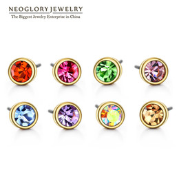 Wholesale Studs Gold Set Earrings - MADE WITH SWAROVSKI ELEMENTS Rhinestone Charm Gold Plated Colorful Neoglory Stud Earrings Set For Women Brand Fashion India Jewelry Colf