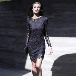 Wholesale Long Sleeved Mini Prom Dress - Couture 2017 Navy Blue Cocktail Dresses For Women With Long Sleeved Lace Mini Short Prom Dresses Cheap Custom Made Formal Dress Outfits