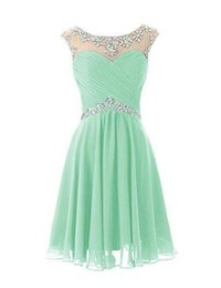 Wholesale Cute Winter Caps - Knee Length Cute Mint Sheer Crew Neck Prom Dresses Pleats Backless Real Picture Dresses Formal Dresses Custom Made Cheap Short Party Dresses