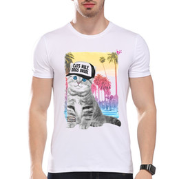 Wholesale Beach Vacation Clothing - Men Clothing Tees Cheap Men's Casual Beach Style Cute Cat Kitty on Vacation Print T-Shirt Men Summer Modal Hipster Tees