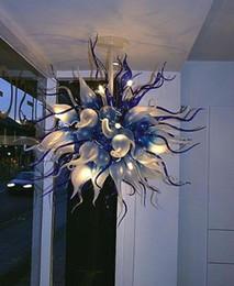 2019 entrada de arañas modernas Alta calidad decorativa casera LED luz colgante moderna mano soplado cadena de cristal araña hotel vestíbulo entrada artística araña entrada de arañas modernas baratos