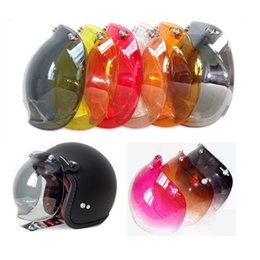 Wholesale Helmet Motorcycle Yellow - 3-snap open face helmet visor vintage retro motorcycle helmet bubble shield visor lens for LS2   BEON  SHOEI