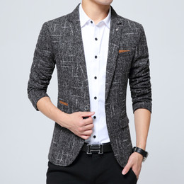 Wholesale Cashmere Suit Coat - Wholesale- New Autumn Winter Blazer Male Terno Masculino Cashmere Slim Fit Business Casual Suit for Men single button Outwear Jacket Coat