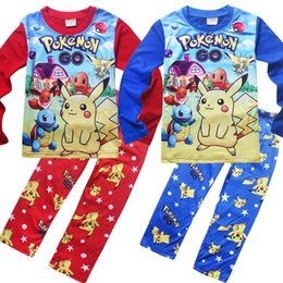 Wholesale Cotton Red Pajamas For Kids - Poke mon pajamas Pikachu Pajamas Suit Kids Girls Boys Sleeper Poke mon Go Nightwear Kids Tracksuit Clothing Set For Autumn pyjamas