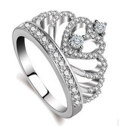 Wholesale Handmade Rings Silver - Women Crown ring Handmade 1.5ct AAAAA zircon cz 925 Sterling silver Engagement Wedding Band Ring for women Gift