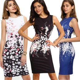 Wholesale Ladies Working Dresses - 2018 Women Bodycon Office Work Dresses Sleeveless Floral Printed Pencil Dresses for Lady Knee Length Plus Size Summer Casual Gowns FS2006