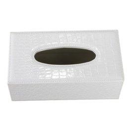 Wholesale Car Tissue Holder Wholesale - Wholesale- PHFU Durable Home Car Rectangle PU Leather Tissue Box Paper Holder Case Cover Napkin(white Crocodile Grain)