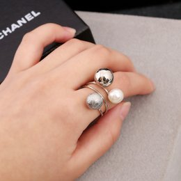 Wholesale Little Girl Silver Rings - Silver Scrub Steel Ball Beans Ring For Women Girl Pearl Little Peas Opening Twisted Rings Fashion Punk Jewelry