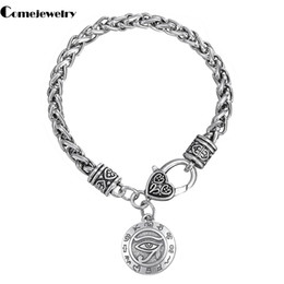 Wholesale cheap silver charm bracelets - Fashion Cheap Hot Sell Tailsman Eyes Of Horus Religious Single Side Egyptian Engraved Special Symbol Wicca Pendant Bracelets Free ship