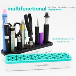Wholesale Plastic Display For E Cigarettes - Ecigs Multifunctional Display Stand Plastic Silicone Material E Cigarette Holder for Mods Atomizers Battery Tweezers Many Tools DHL Free